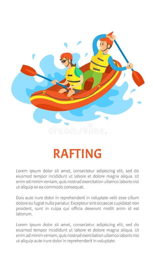 Extreem Toerisme, Rubberboot, Rafting-Sportvector vector illustratie