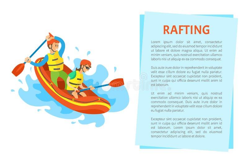 Extreem Toerisme, Rubberboot, Rafting-Sportvector royalty-vrije illustratie