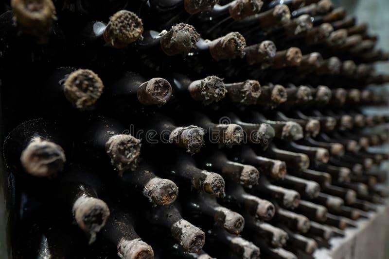 Extrem alte Weinflaschen bei Altern lizenzfreie stockfotos