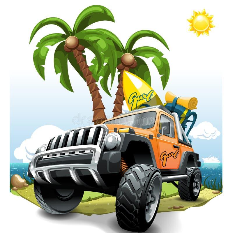 Extrem apelsin av vägmedlet SUV på en strand också vektor för coreldrawillustration royaltyfri illustrationer
