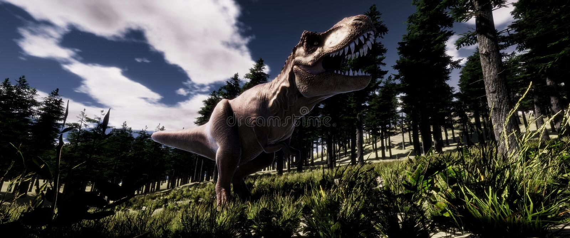 Extrem ausführliche und realistische Illustration der hohen Auflösung 3d eines Dinosauriers T-Rex Tyranno Saurus im Wald stock abbildung