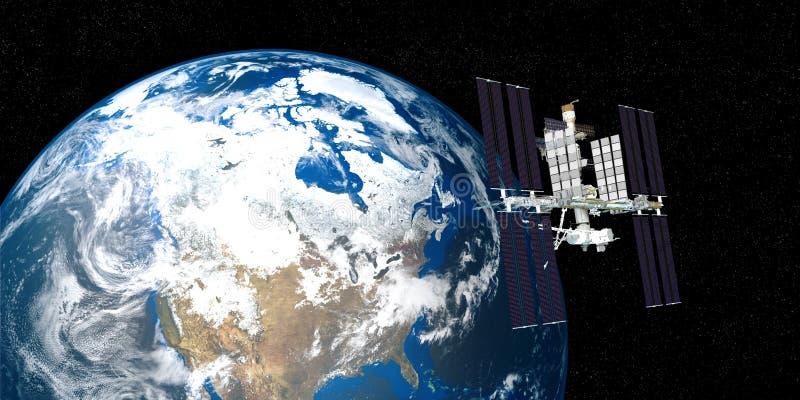 Extrem ausführliches und realistisches Bild der hohen Auflösung 3D der umkreisenden Erde ISS-internationaler Weltraumstation scho lizenzfreie abbildung