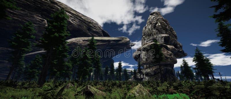 Extrem ausf?hrliche und realistische Illustration der hohen Aufl?sung 3d einer Landschaft auf einem Erde-liike Planeten lizenzfreie abbildung