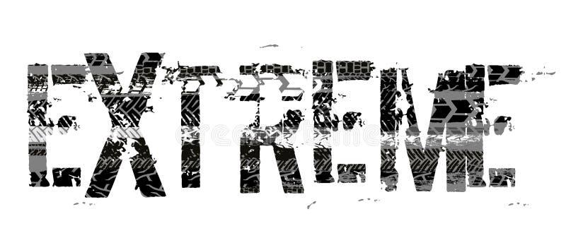 Extrem bokstäver för gummihjul stock illustrationer