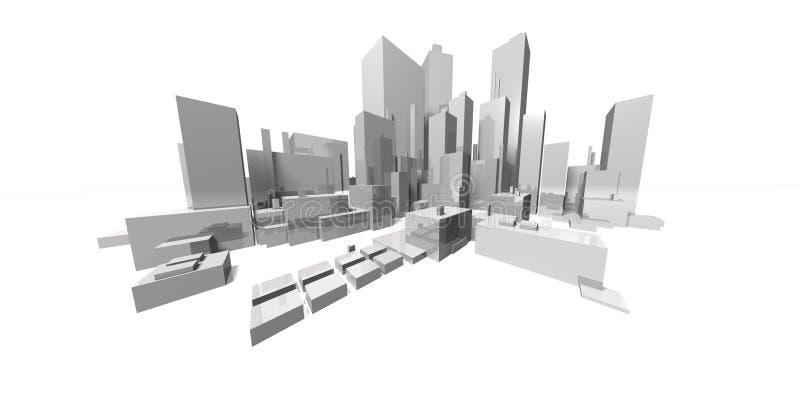 extrem fokal- horisont för cityscape stock illustrationer