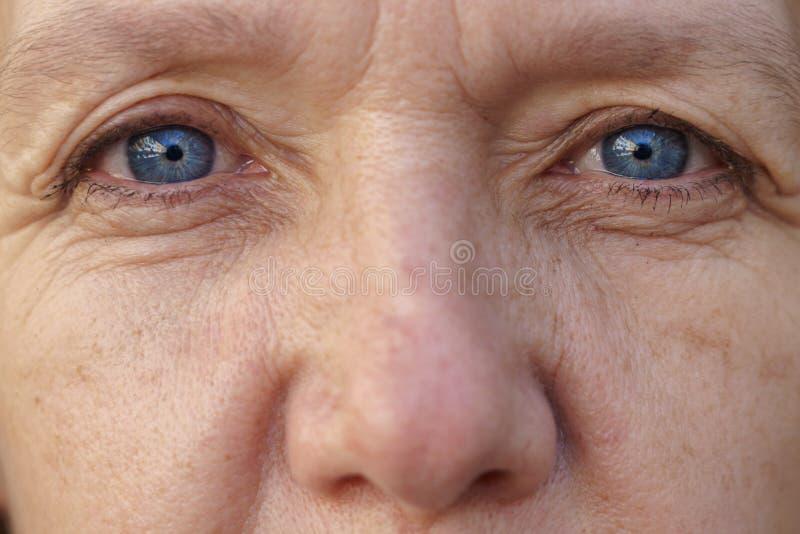 Extrem kantjusterad framsida av en blåögd medelålders kvinna arkivfoto