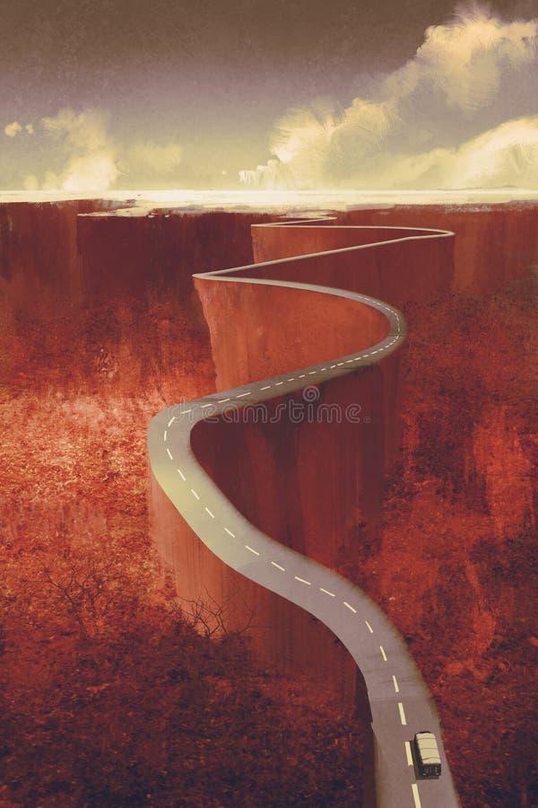 Extrem slingrig väg med klippan stock illustrationer