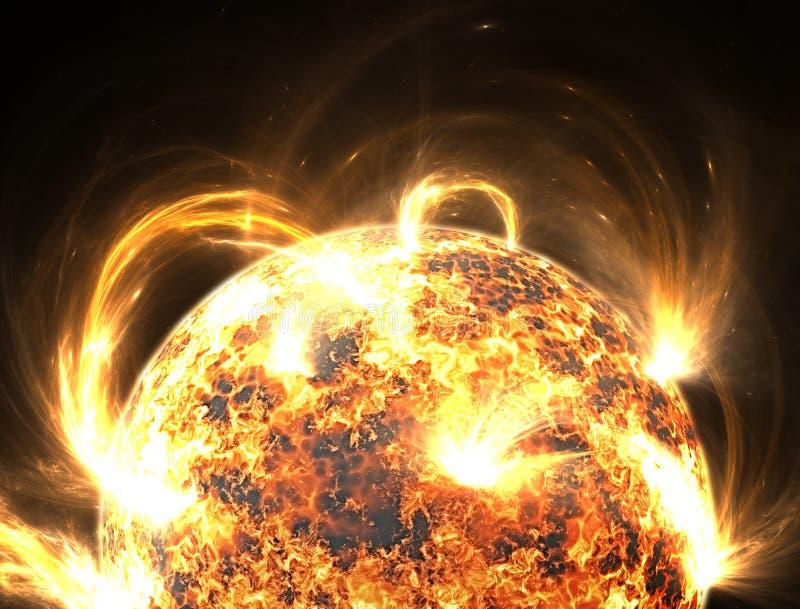 Extrem sol- storm, solfacklor vektor illustrationer