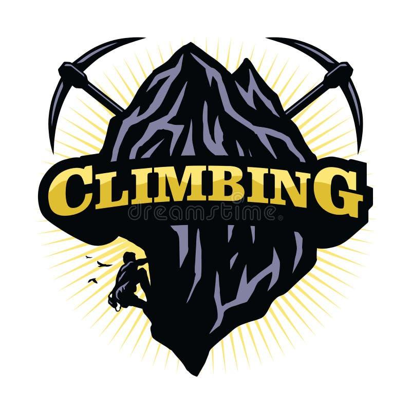 Extrema bergsportar som kl?ttrar Logo Vector stock illustrationer