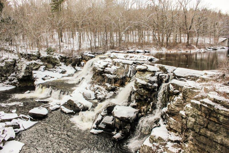 Extrema vintervillkor i Pocono berg arkivfoton