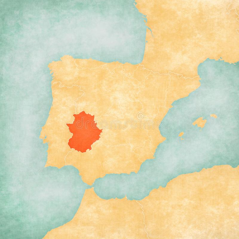 Map of Iberian Peninsula - Extremadura. Extremadura on the map of Iberian Peninsula in soft grunge and vintage style on old paper royalty free illustration
