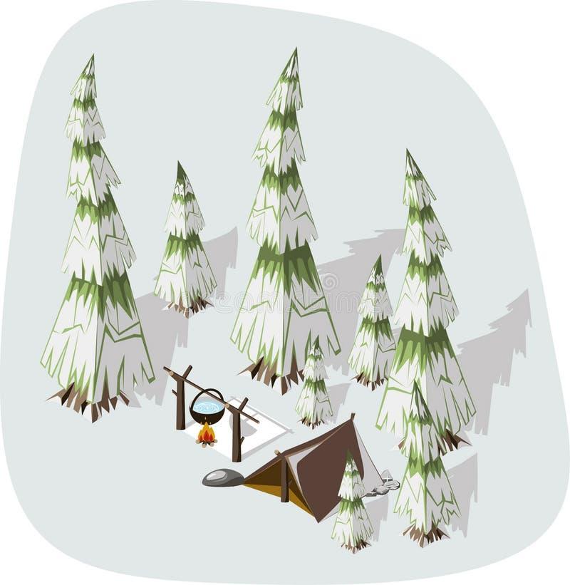 Extremal fotvandra för vinter stock illustrationer