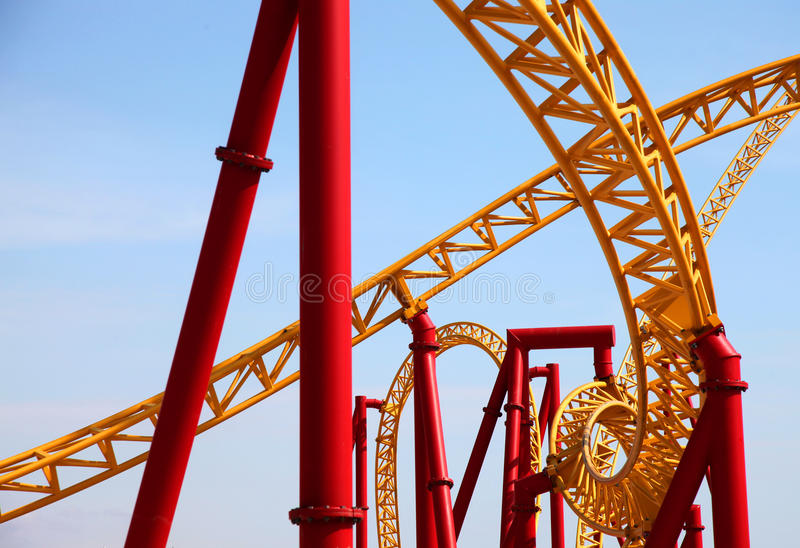 Extreme attraction roller coasters stock photos