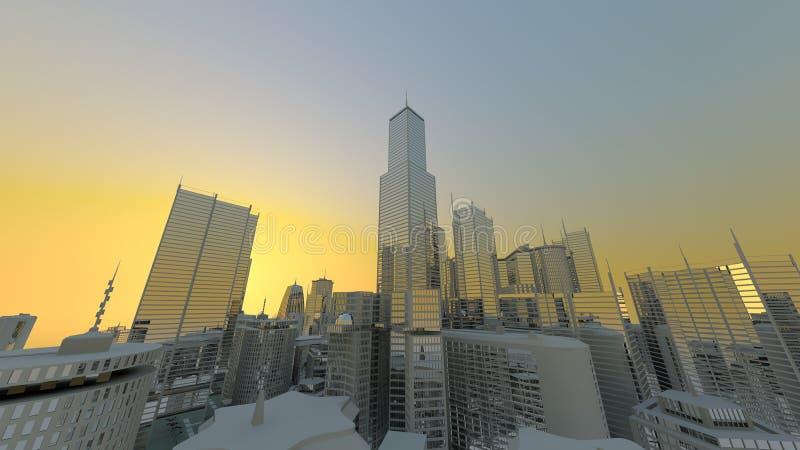 Extreme city skyline stock illustration