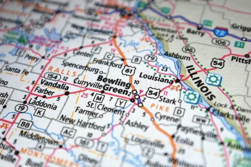 Extreme close-up of Bowling Green, Missouri in a map stock image