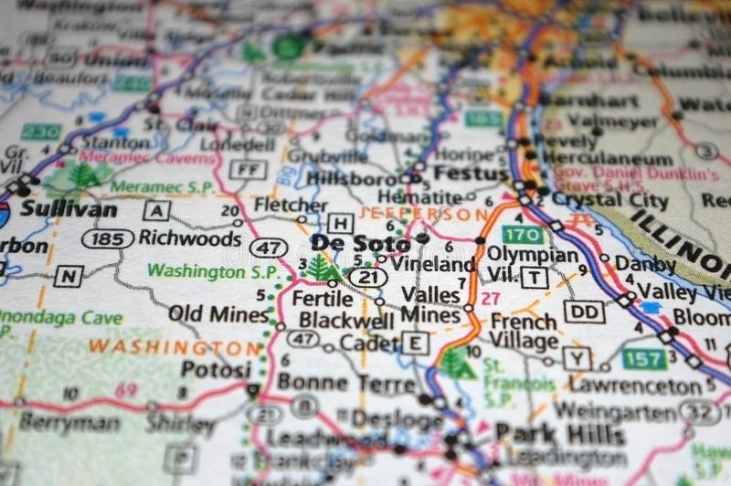 Extreme close-up of De Soto, Missouri in a map stock photos