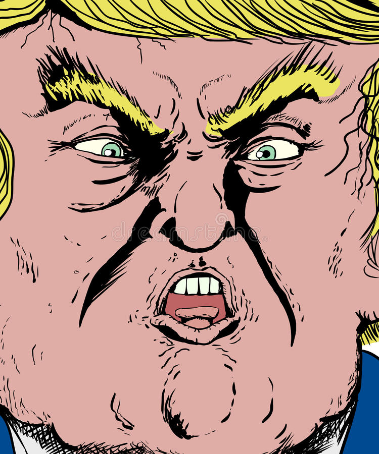 Extreme close up on Donald Trump yelling. Jan. 30, 2017. Extreme close up on face of Donald Trump screaming or yelling vector illustration
