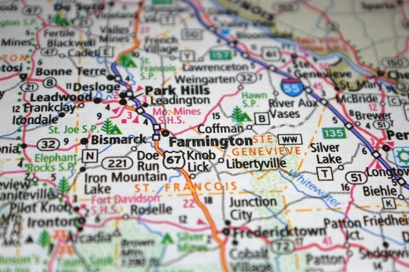 Extreme close-up of Farmington, Missouri in a map. Atlas, cartography, geography, location, place, destination, travel, tourism, navigation, route, city, state royalty free stock photo