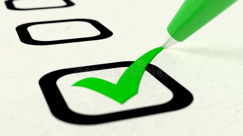 Extreme close up of green pen checking a checkbox. Extreme closeup of green pen putting a checkmark into a checkbox on papaer 3D illustration vector illustration