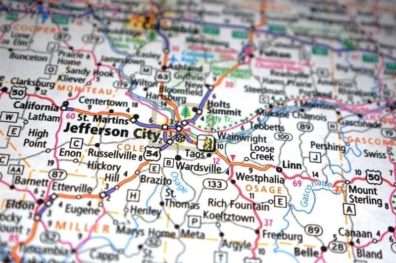 Jefferson City, Missouri. Extreme close-up of Jefferson City, Missouri in a map stock photography