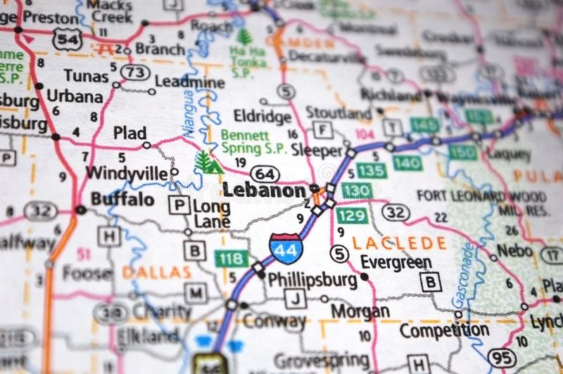 Extreme close-up of Lebanon, Missouri in a map. Atlas, cartography, geography, location, place, destination, travel, tourism, navigation, route, city, state stock image