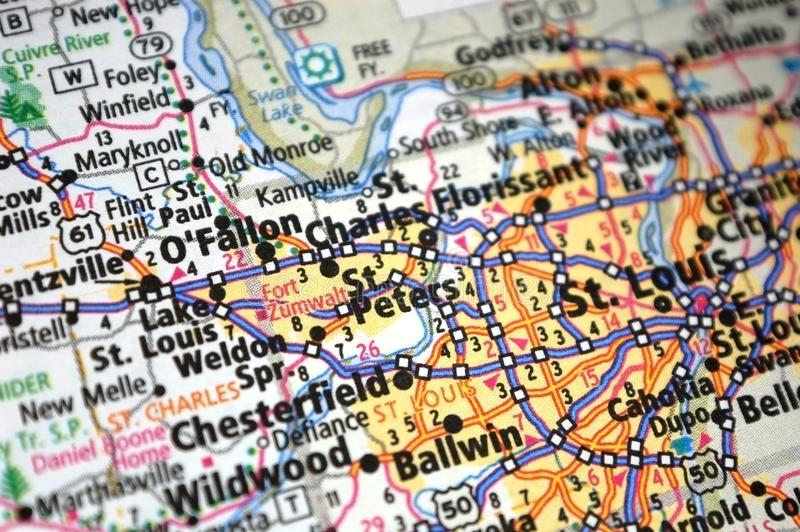 Extreme close-up of O' Fallon, Missouri in a map royalty free stock image