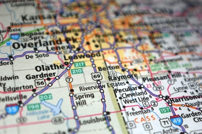 Extreme close-up of Olathe, Kansas in a map. Atlas, cartography, geography, location, place, destination, travel, tourism, navigation, route, city, state stock photography