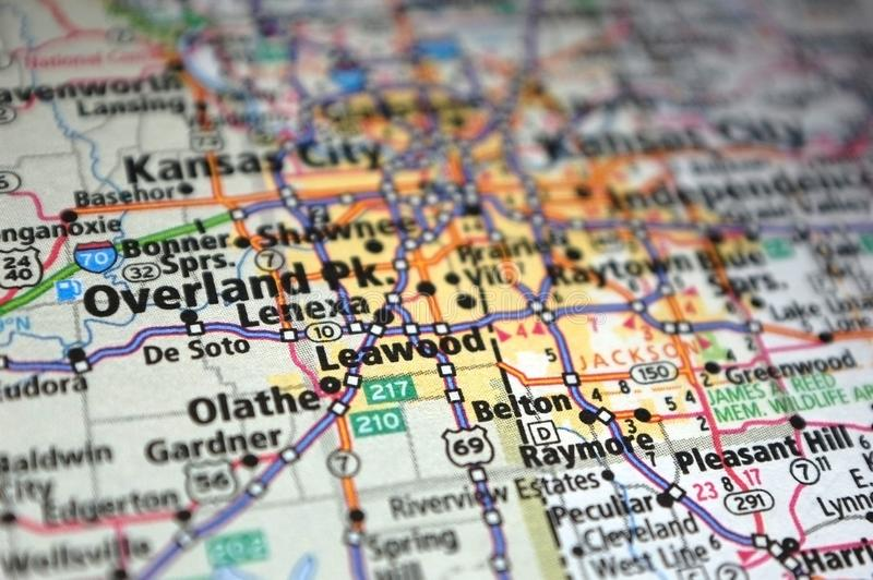 Extreme close-up of Overland Park, Kansas in a map. Atlas, cartography, geography, location, place, destination, travel, tourism, navigation, route, city stock images