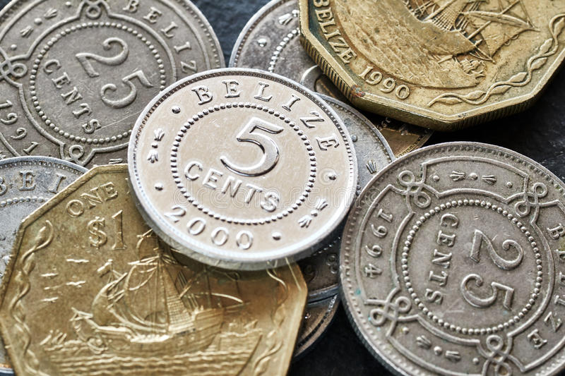 Extreme close up picture of Belize money. royalty free stock photos