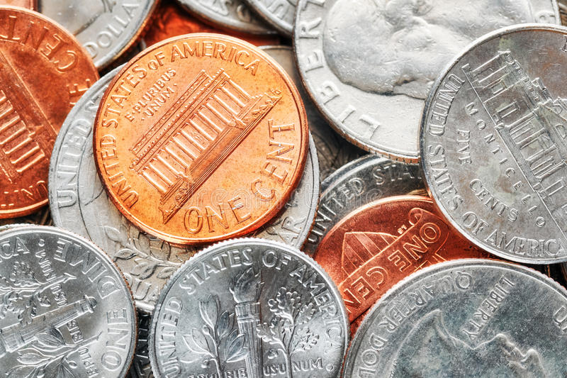 Extreme close up picture of United States dollar coins. Extreme close up picture of United States dollar coins, shallow depth of field royalty free stock photo