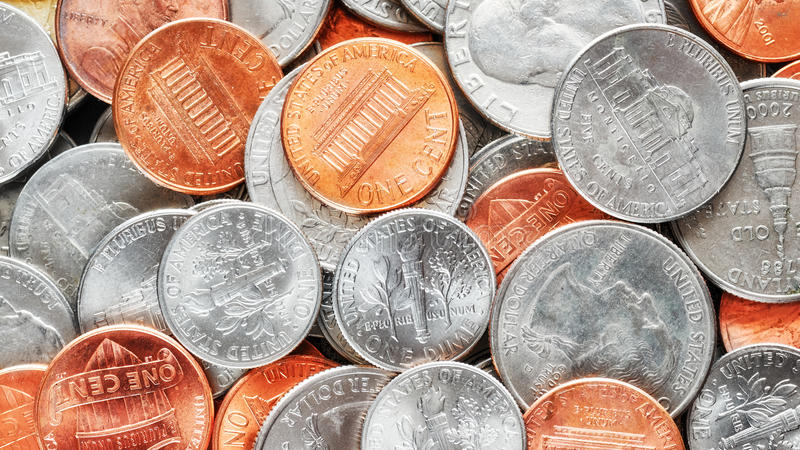 Extreme close up picture of United States dollar coins. Extreme close up picture of United States dollar coins, shallow depth of field stock photos