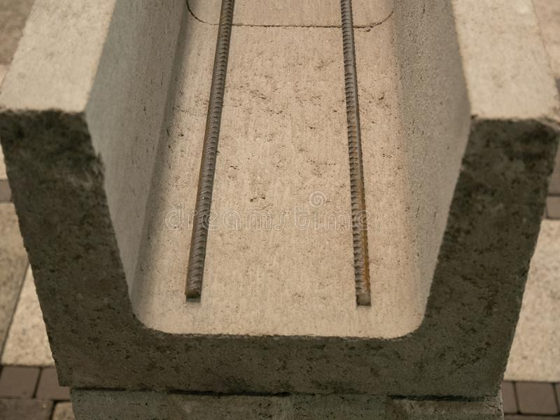 Extreme close-up of reinforced concrete blocks for building housing at construction site.  royalty free stock photography