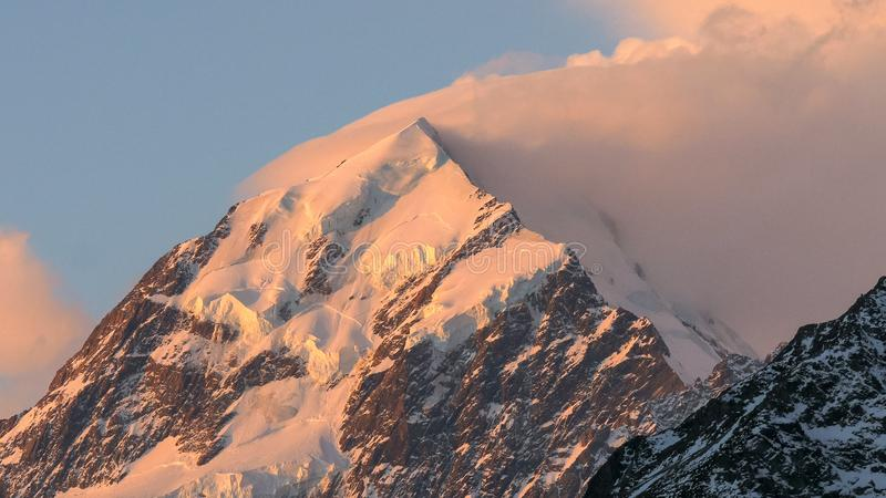 Extreme close up shot of mt cook at sunset stock image