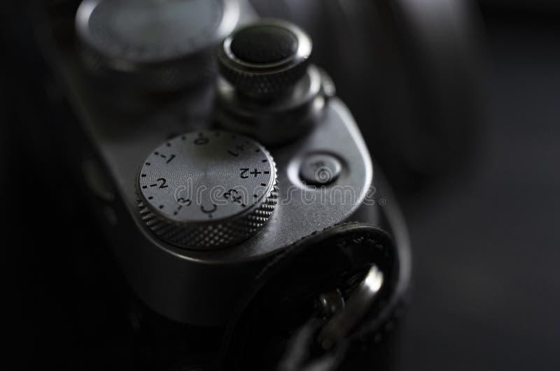 Extreme close-up van een professionele die cameraschuif in zwart-wit wordt geschoten royalty-vrije stock foto