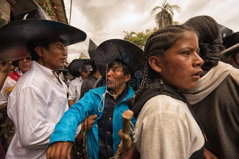Extreme close-up van inheemse kichwamensen royalty-vrije stock foto's