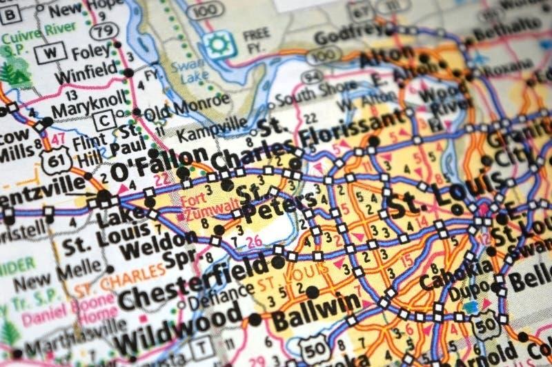 Extreme close-up van O' Fallon, Missouri op een kaart royalty-vrije stock afbeelding