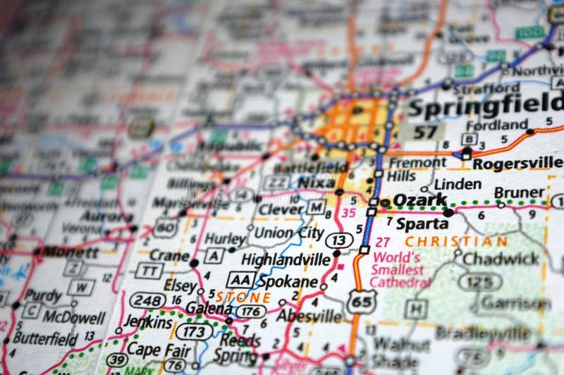 Extreme close-up van Ozark, Missouri op een kaart stock afbeelding