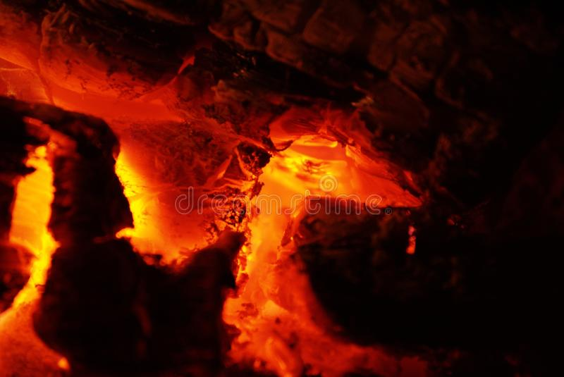 Extreme close up view to camp fire flames, fire charcoal fire wood. royalty free stock images