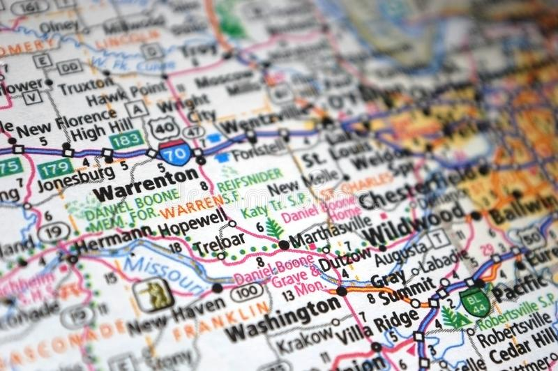 Extreme close-up of Warrenton, Missouri in a map stock photography