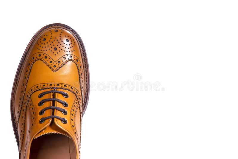 Extreme Closeup of Medalion of One Separate Male Tan Brogue Oxfords. Extreme Closeup of Medalion of One Separate Male Tan Brogue Oxford Shoe. Isolated Over White royalty free stock images