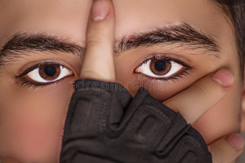 Extreme closeup of teenager stock photos