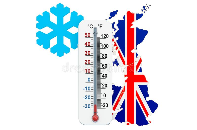Extreme cold in the United Kingdom concept. 3D rendering. Isolated on white background vector illustration