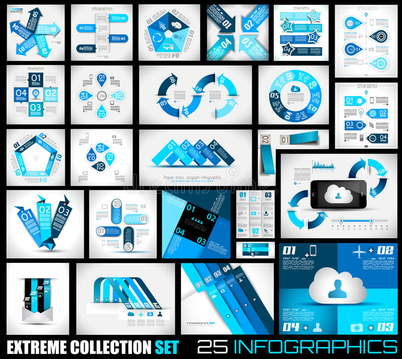 Extreme Collection of 25 quality Infographics background. vector illustration