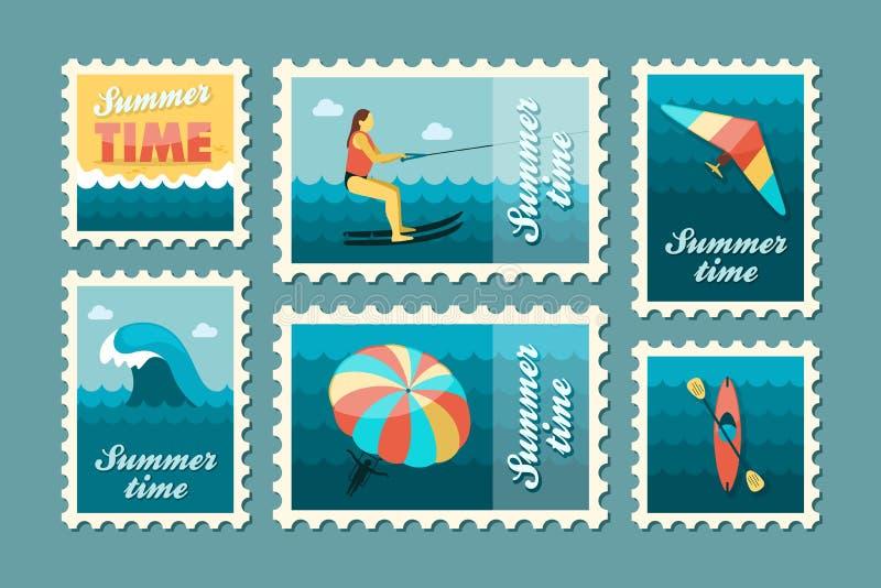 Extreme de zegelreeks van de Watersport De zomer Vakantie royalty-vrije illustratie