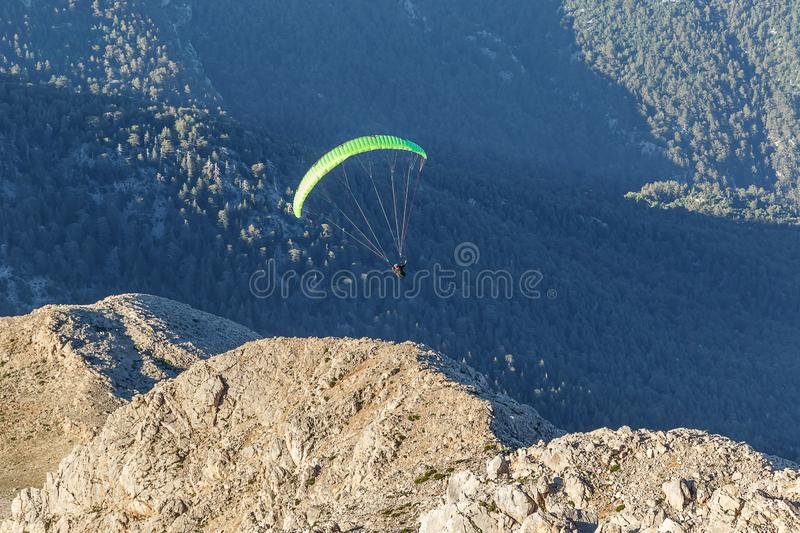 Extreme descends by parachute. Beautiful landscape in the mountains. Lovely view of the Taurus Mountains and the Mediterranean coa stock photos