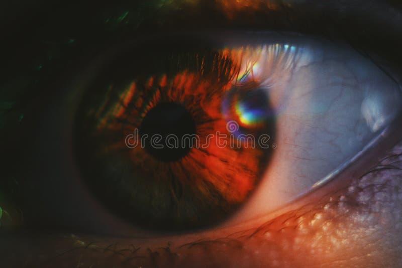 Extreme die close-up van een mooi menselijk oog die met licht wordt geschoten op het glanzen stock afbeeldingen