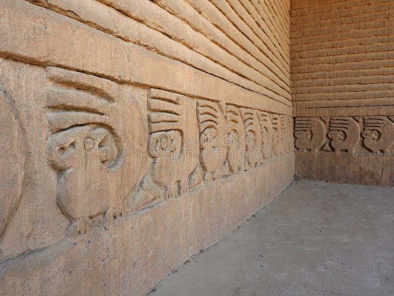 Extreme Diepte van Gebiedsfoto van Muren van Chan Chan Pre-Columbian royalty-vrije stock fotografie