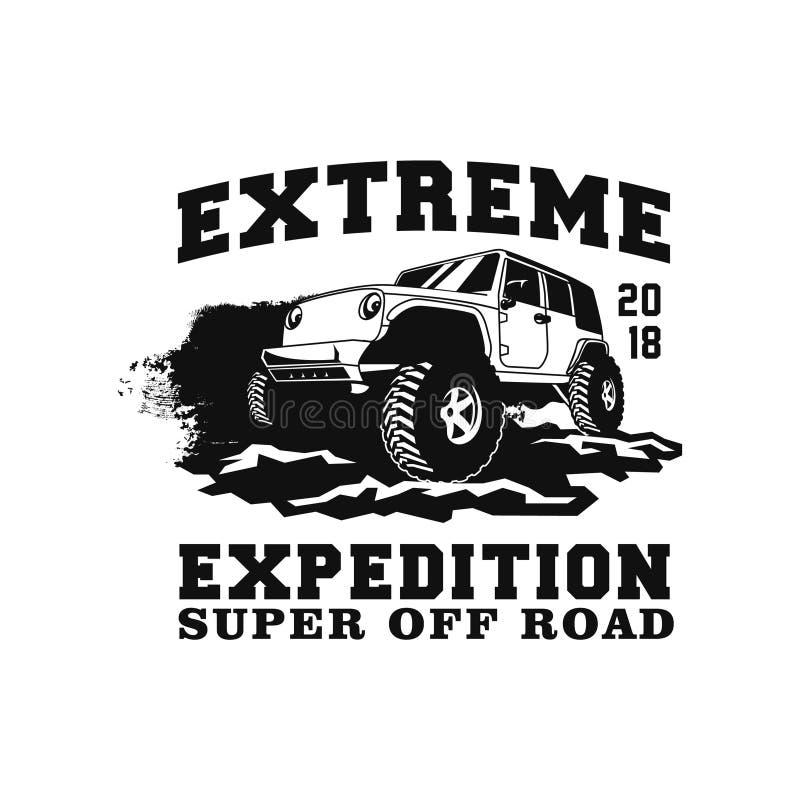 Extreme Expedition Super weg von der Straßenauto-Ereignisillustration Allradfahrzeug mit Schlammgelände und Spritzenstaubhintergr stock abbildung