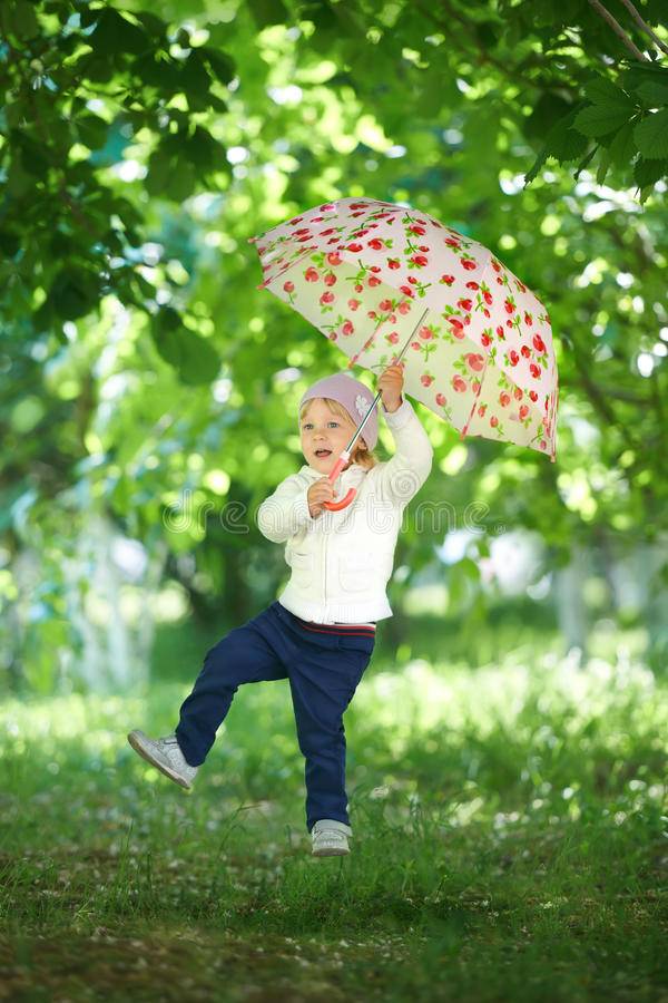 Extreme flying for the little child.  stock photo