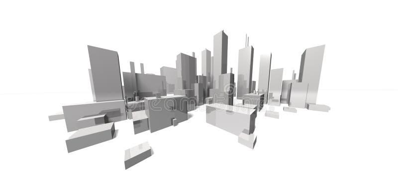 Download Extreme Focal Cityscape - Skyline Stock Illustration - Image: 8179064
